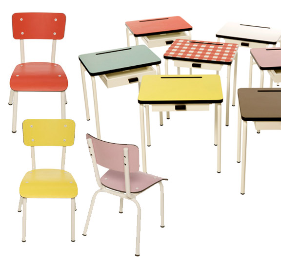 School Style Desk Style Desk And Chairs in a